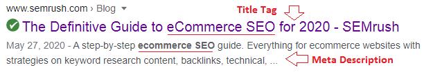 title tag and meta description